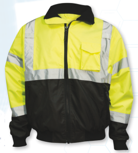 ANSI Class 3 Safety Green Bomber Jacket with Removable Fleece Liner