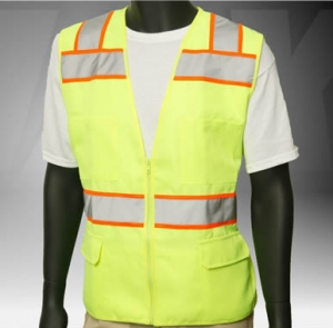 ANSI Class 2 Solid Twill 6 Pocket Safety Green Vest