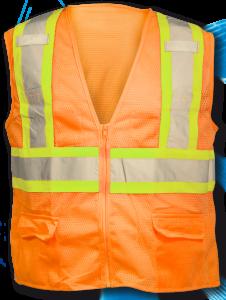 ANSI Class 2 Deluxe 8 Pocket Safety Orange Mesh Vest