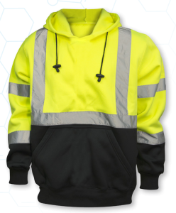 ANSI Class 3 Safety Green pullover Hooded Sweatshirt