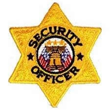 """Security Officer Six Pointed GOLD Star Patch 3""""x3"""""""