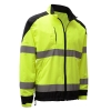 Zippered Windbreaker Jacket with Black Bottom - ANSI Class 3 - Safety Green