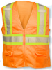 ANSI Class 2 Deluxe 8 Pocket Safety Orange Mesh Vest